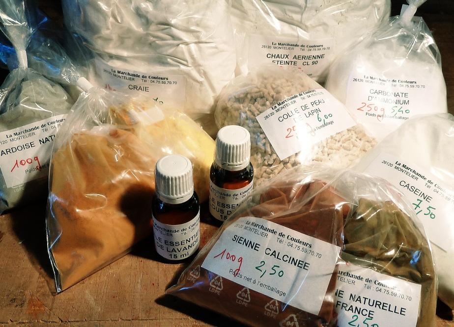 Quelques produits de base pour enduits et peintures non polluantes