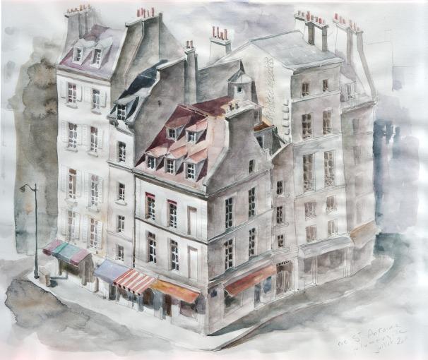 Rue Saint-Antoine - crayon et aquarelle
