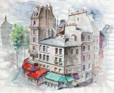 esquisse - place d'Italie - crayon et aquarelle