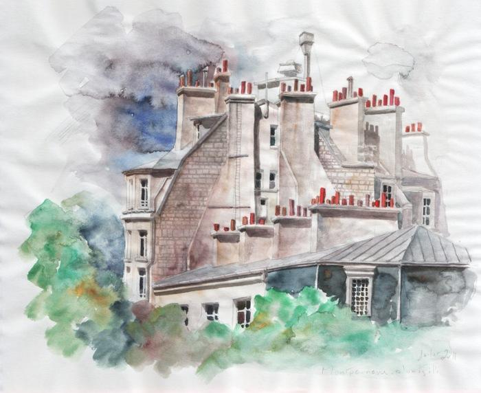 esquisse - Montparnasse - crayon et aquarelle
