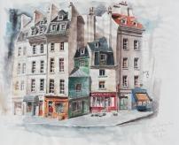 Rue Galande - crayon et aquarelle