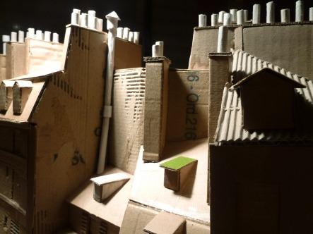 Rue Galande, toits avec cheminées