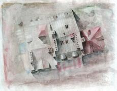 Toits 01 - crayon et aquarelle sur journal encollé