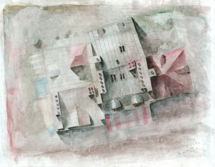 Toits 01 - crayon et aquarelle sur papier journal encollé