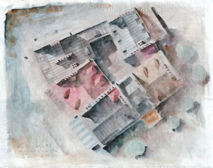 Toits de Paris #2 - crayon et aquarelle sur papier journal encollé