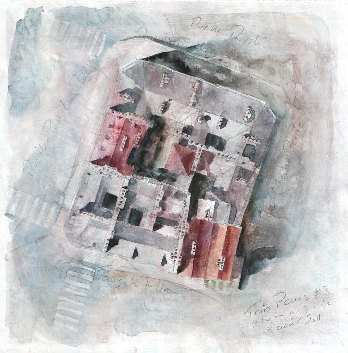 Toits de Paris #3 - crayon et aquarelle sur papier journal encollé