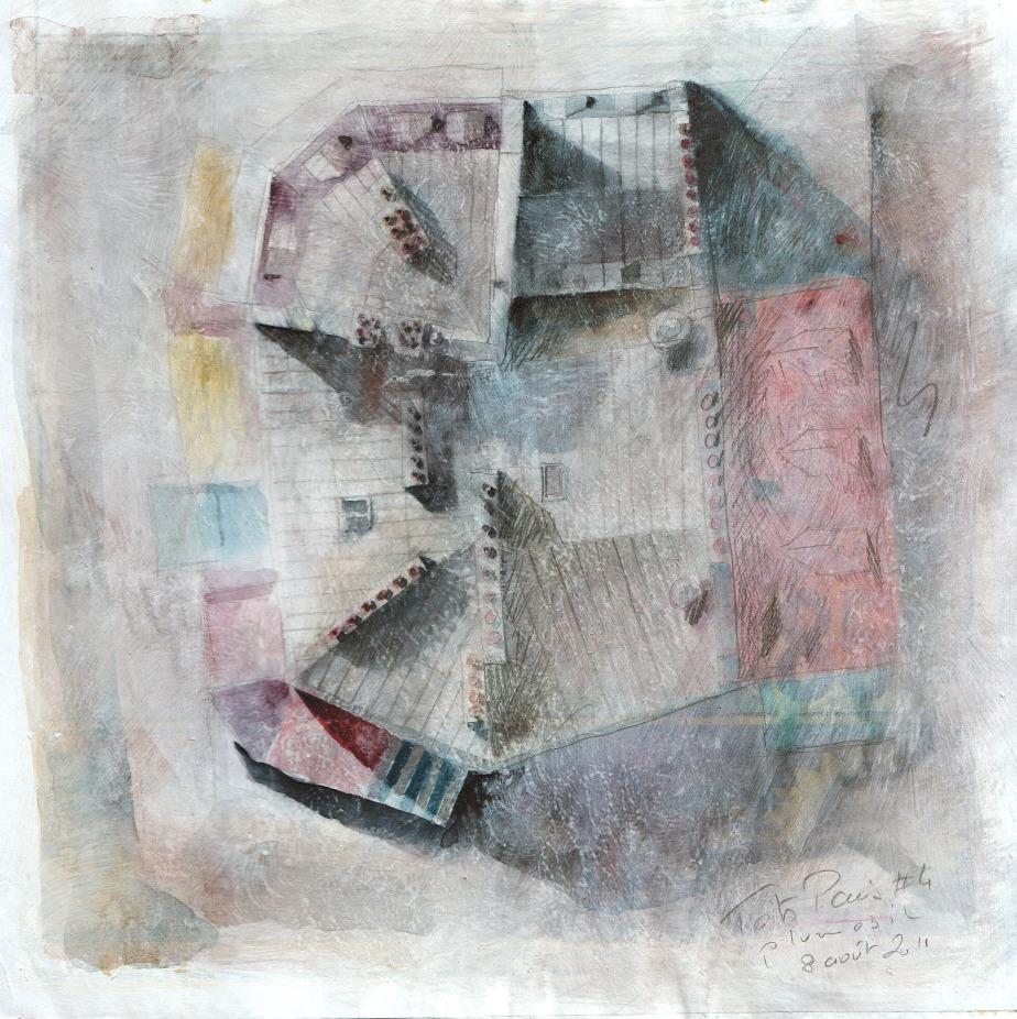Toits de Paris #4 - crayon et aquarelle sur papier journal encollé
