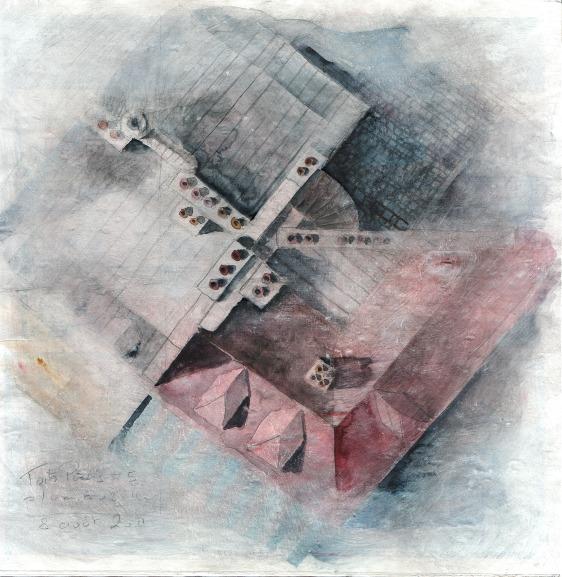 Toits de Paris #5 - crayon et aquarelle sur papier journal encollé