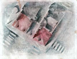 Toits de Paris #6 - crayon et aquarelle sur papier journal encollé