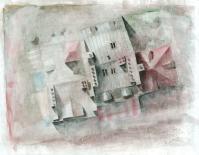 """""""Toits #1"""" - aquarelle sur papiers journal encollés"""