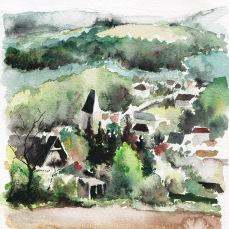 mareil sur mauldre - aquarelle sur papier