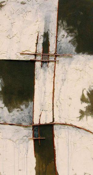 phare - plâtre, joncs et laiton sur Isorel