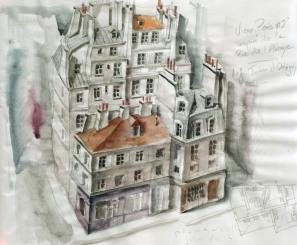 """Esquisse, projet """"Rue de l'Abbaye"""""""
