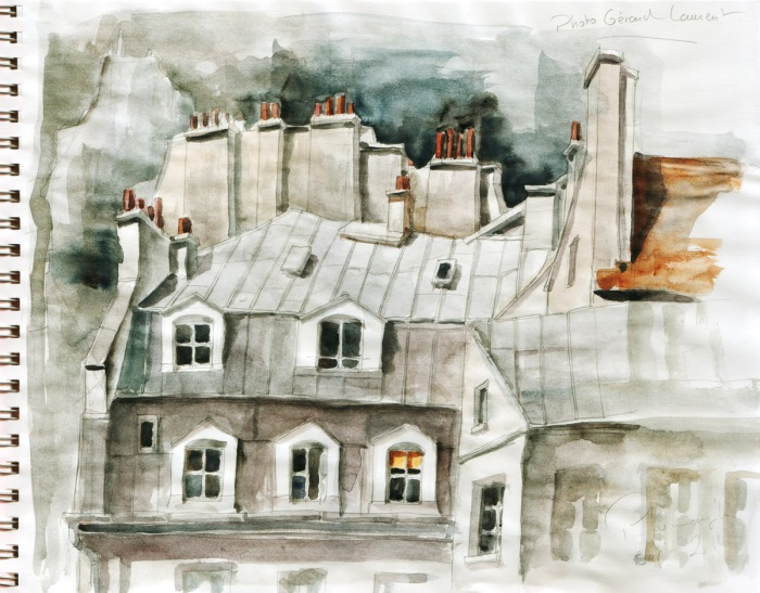 Toits de Paris - aquarelle d'après une photo de Gilbert Laurent