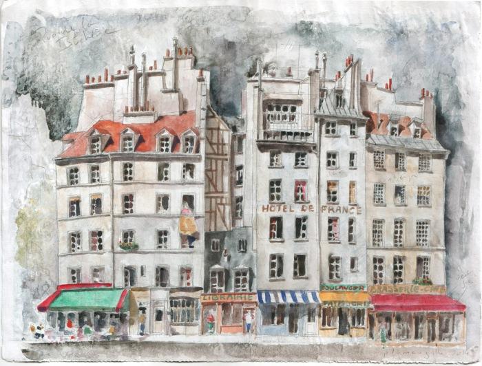 Rue de la Bûcherie - Aquarelle d'après une photo de John d'Orbigny Immobilier