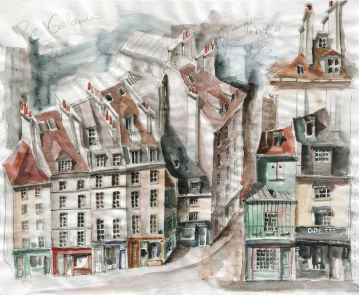 Aquarelle - Rue Galande à Paris