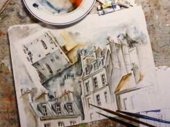 """""""Rue des Dames"""" - esquisse, aquarelle"""