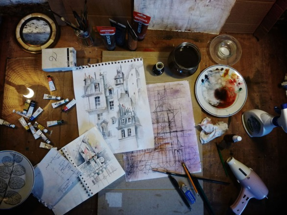 """Recherches """"Maison Très Haute # 2"""" - table de travail"""