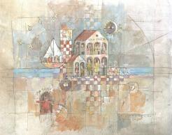 Casa Felice, encre et acrylique sur papier © 2021 Jean-Marc Plumauzille
